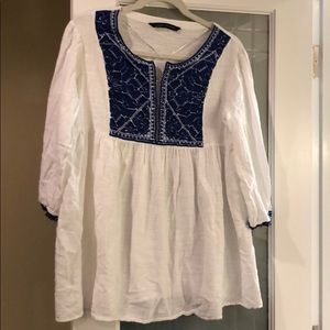 Zara Top, White crepe, blue embroidery